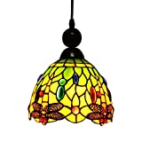 Makenier Tiffany Style Stained Glass Green Dragonfly Vintage Small Pendant Lamp - 7 Inches Lampshade