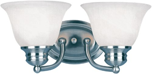 - Maxim 82687MRSN Malaga EE 2-Light Bath Vanity Wall Sconce, Satin Nickel Finish, Marble Glass, GU24 Fluorescent Bulb , 100W Max., Wet Safety Rating, Standard Dimmable, Glass Shade Material, 1150 Rated Lumens
