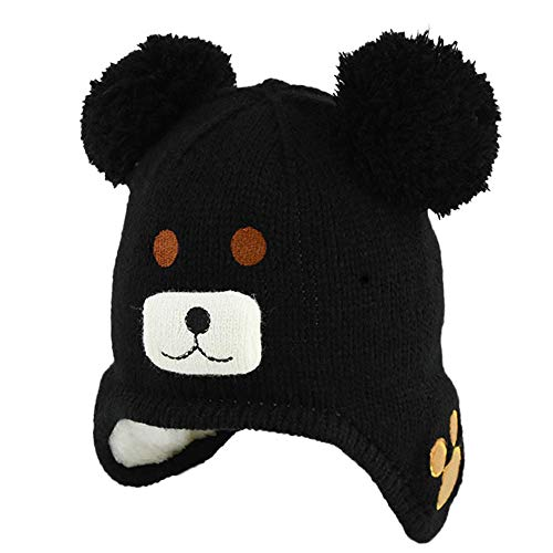 Baby Beanie Earflaps Hat - Infant Toddler Girls Boys Soft Warm Knit PomPom Hat Kids Winter Cap with Fleece Lining (Black, Free size:17.32-20.5 inch)