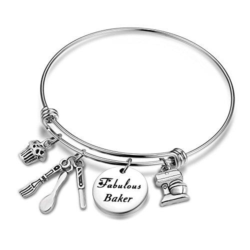 TGBJE Baker Gift Fabulous Baker Bracelet Expandable Stainless Steel Bracelet Gift for Cake Decorator,Baker Chef (Baker -