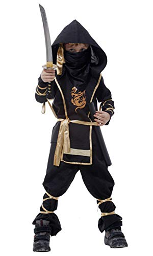 stylesilove Kid Boys Halloween Costume Party Cosplay Outfit Themed Party Birthdays Party (Dragon Ninja, L/7-9 Years)