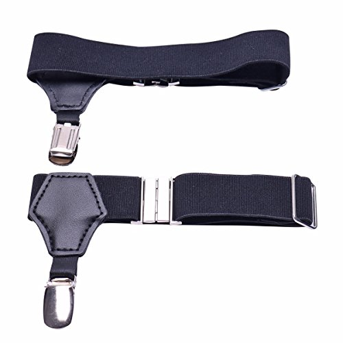 iEFiEL Men's Non-slip Sock Garters Belt Suspender with Double Clips Black One Size by iEFiEL (Image #4)