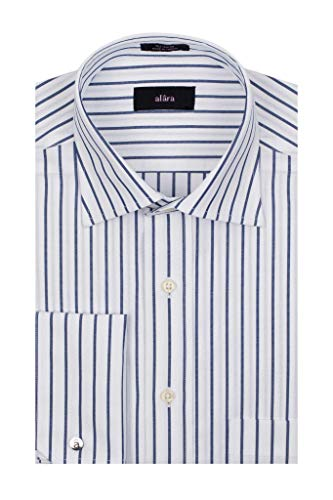 - Alara Navy and White Textured Stripe Medium Spread Collar French Cuff Dress Shirt with Pocket in Egytian Cotton (Medium)