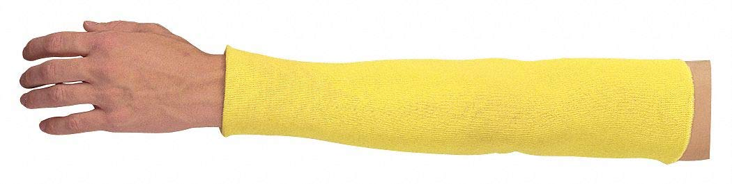 Kevlar Sleeve, 18''L, Knitted Cuff, Yellow, Sleeve Size: Universal pack of 5