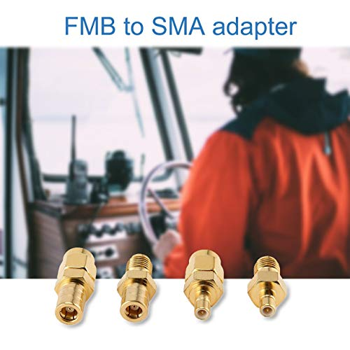 Walkie talkie,DAB Car Aerial Adapter SMB to SMA Antenna RF Connector Converter 4 Kit for DAB+/FM/AM Radio Pioneer Clarion Kenwood Alpine JVC ()