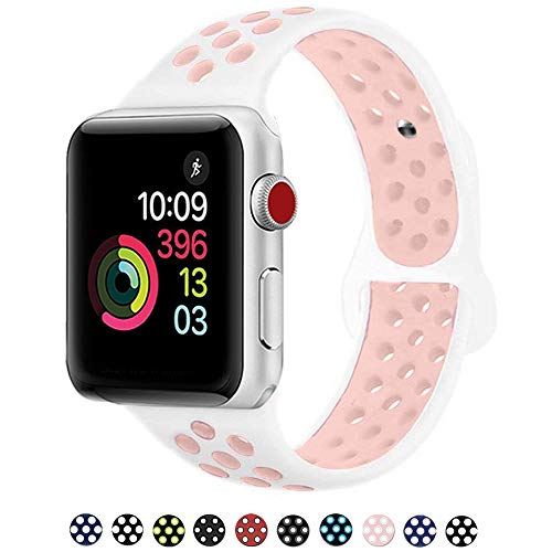 (DOBSTFY Bands 42mm 44mm,Soft Silicone Sport Band Replacement Wristband Compatible for iWatch Series 1/2/3/4, Ni ke+, Sport, Edition, 42mm 44mm S/M - White/Light Pink)