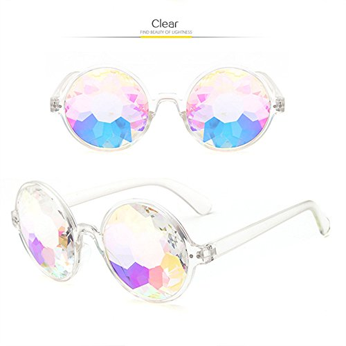 Round Kaleidoscope Glasses Rainbow Prism Sunglasses for Women Men OULYLAN Party Rave Festival Glasses with Grey Sun Glasses Cloth Bag (Clear)