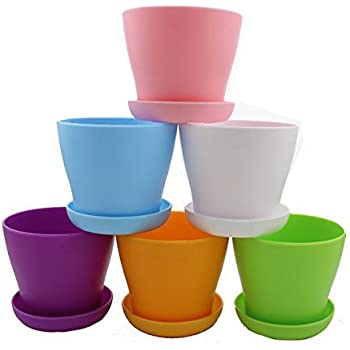 zicome 6 pack colorful round plastic plant pots with saucers 4 inch