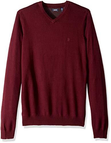 IZOD Men's Big and Tall Premium Essentials Solid V-Neck 12 Gauge Sweater, Fig, 4X-Large -