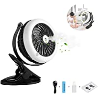 Portable Misting Fan, Clip On USB & Battery Cooling Stroller Fan Rechargeable for Baby Stroller Home,Office,Travel