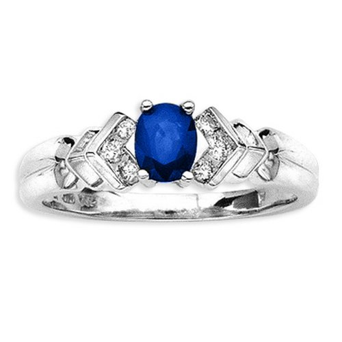 14K White Gold 0.12 ct. Diamond and 1/2 ct. Oval Shaped Sapphire Ring