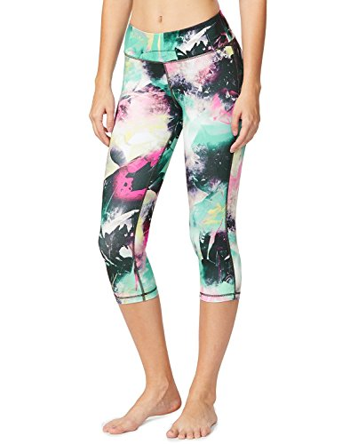 Baleaf Women's Printed Yoga Capri Workout Leggings Tummy Control Pants Hidden Pocket Ink Black Size L