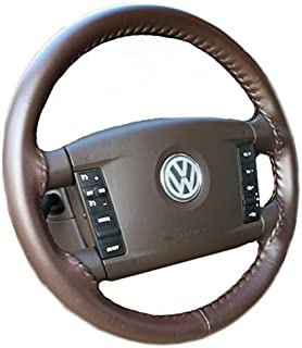 product image for Wheelskins Genuine Leather Brown Steering Wheel Cover Compatible with Vehicles -Size AX