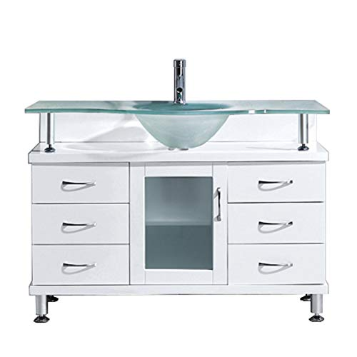 Virtu USA Vincente 48 inch Single Sink Bathroom Vanity Set in White w/Integrated Round Sink, Frosted Tempered Glass Countertop, No Faucet, No Mirror - MS-48-FG-WH