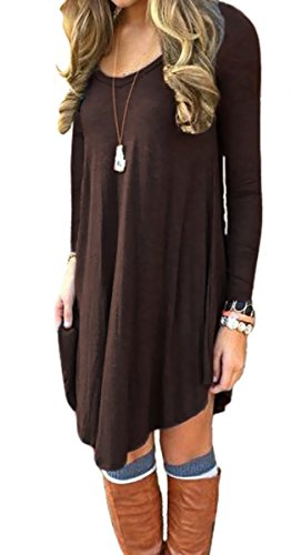 Cute Brown Dress (Women's T Shirt Dress Casual Loose Tunic Long Sleeve V-neck Frock by Azot (M, Dark brown))