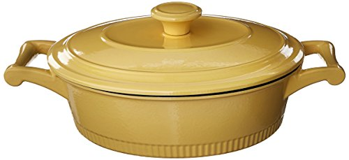 KitchenAid KCTI30CRMY Traditional Cast Iron Casserole Cookware, 3 quart - Majestic - Yellow Aid Kitchen Mixer