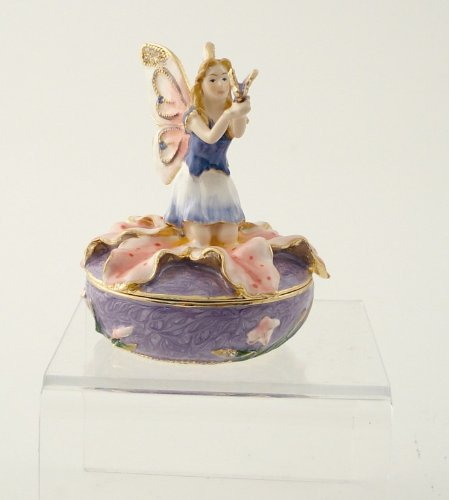 2.75 Inch Fairy on Lilly with Butterfly Jeweled Box Statue Figurine ()