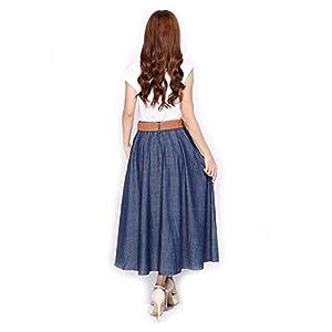 Kaachli Women's Thin Blue Denim Cotton Midi Calf Pocket Fall Skirt with Belt