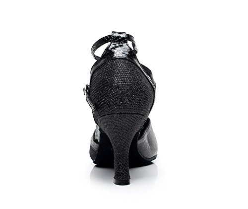 Our36 JSHOE EU35 Danse UK4 Cuir Chaussures Salsa Black Danse Femmes heeled7 De De De En 5cm Pour Cross Strap Salon Latine qcRHWrqnf