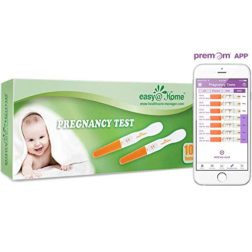 Easy@Home 10 Pregnancy Test Sticks - hCG Midstream Tests, FSA Eligible, Powered by Premom Ovulation Predictor iOS and Android App