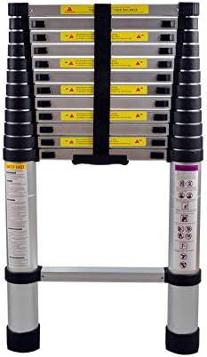 AUFUN Escalera Telesc/ópica 4,4m Escalera de Aluminio Antideslizante Extensible multifunci/ón Carga m/áxima 150 kg Escaleras de uso m/últiple