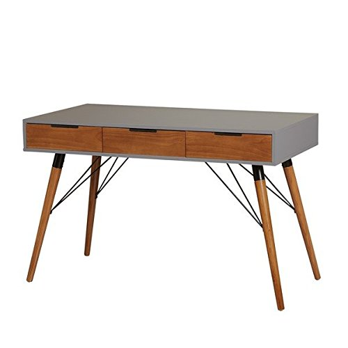 Grey Medium Rectangular Writing Desk with 3-Drawer Made From Wood and Metal, Walnut Finish Mid-Century Style Included Cross Scented Candle Tart by S.L.