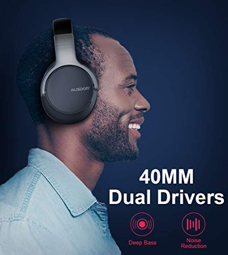 Active Noise Cancelling Bluetooth Headphones, Ausdom ANC8 Over Ear Wireless Headphones Wired Headsets with Microphone, 30H Playtime Comfortable for Travel Work TV PC Computer Cellphone Music – Black