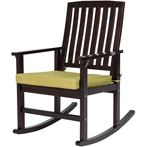 Aromzen Indoor Outdoor Home Furniture Wooden Patio Rocking Chair Porch Rocker Set Glider Furniture w/Seat Cushion - Brown/Green