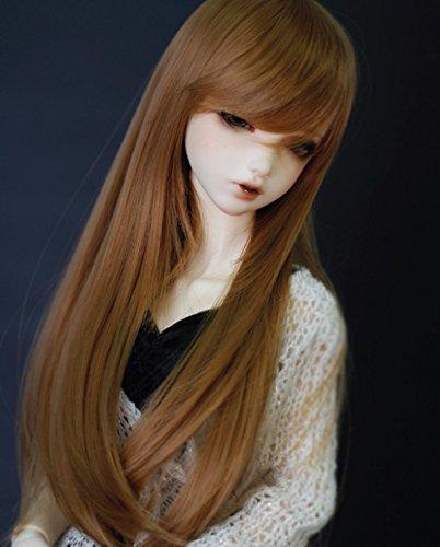 Kuafu 9-10 Inch (22-24cm) 1/3 BJD/SD Doll Wig High Quality Cute Long Straight Soft Wigs Hair Brown by Kuafu (Image #2)