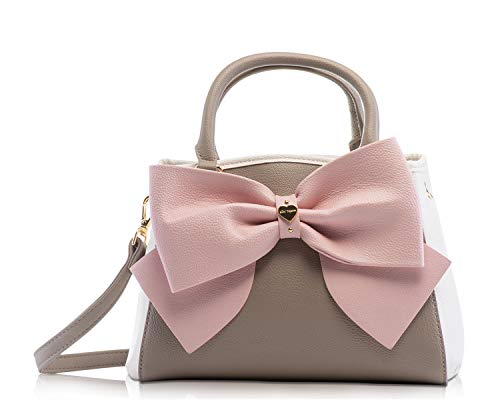 Betsey Johnson Tri Tone Stone Cream Blush Bow Triple Entry Small Satchel Shoulder Bag Handbag from Betsey Johnson