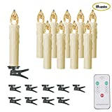 Flameless Warm White Electric LED Taper Candles,Set of 10,Ivory Mini Simulated Wax,Dipped Dimmable Flickering Window Lights,Remote Control,Battery powered,Clip for Chandelier Christmas Tree Decoration