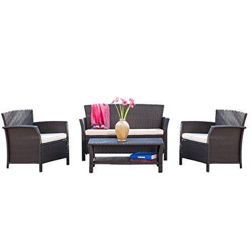 Christopher Knight Home Clearwater Outdoor Patio Furniture 4 Piece Brown Wicker Sofa Set w/Cushions (Clearwater Furniture)