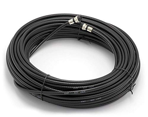 THE CIMPLE CO - 75' Feet, Black RG6 Coaxial Cable | Made in The USA | with Rubber booted - Weather Proof - Outdoor Rated Connectors, F81 / RF, Digital Coax for CATV, Antenna, Internet, Satellite