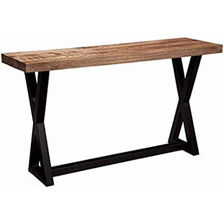 Ashley Furniture Signature Design Wesling Sofa Table Mango Wood Top Vintage Casual Light Brown