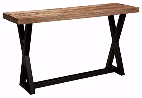 Aged Black Base - Ashley Furniture Signature Design - Wesling Casual Sofa Table - Mango Wood Top with Trestle Base - Light Brown