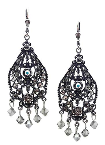 Catherine Popesco Crystal AB & Dark Grey Swarovski Crystal Ornate Teardrop Silvertone Chandelier Leverback Earrings