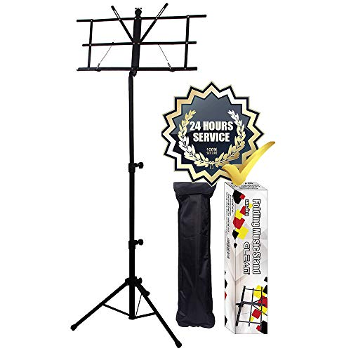 GLEAM Music Stand - Bold Pipe Folding Sheet Music Holder with Carrying Bag (Music Holder)