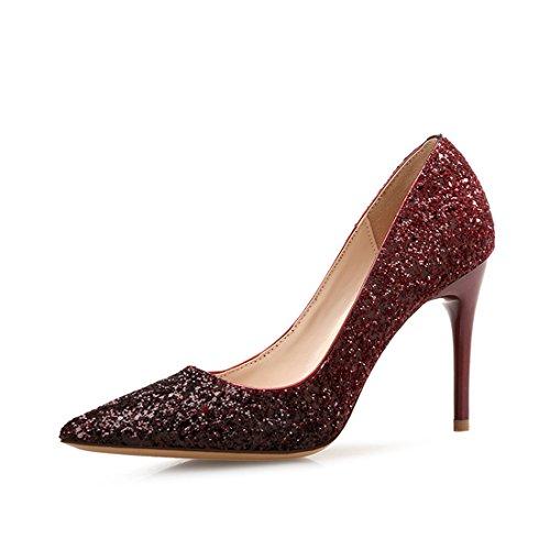 YYF Femme Fille Chaussure A Talon Aiguille DE 5 7 9 CM Elegante Pour Ete Printemps wine avec talon 9 cm