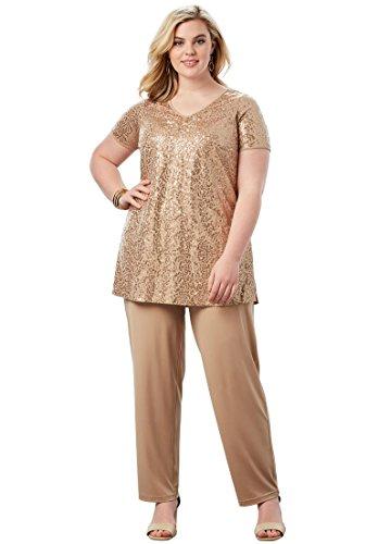 Roamans Womens Pant Suit - Roamans Women's Plus Size Sequin Pant Set - Sparkling Champagne, 32 W