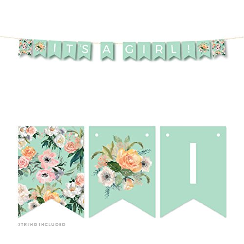 Andaz Press Peach Mint Green Floral Garden Party Baby Shower Collection, Hanging Pennant Party Banner with String, It's a Girl!, 5-Feet, 1 Set ()