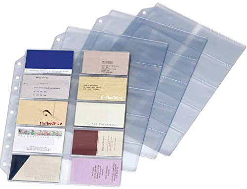 (1InTheOffice Business Card Binder Pages, Holds 20 Cards, 8 1/8 x 11 1/4, Clear, 10/Pack)