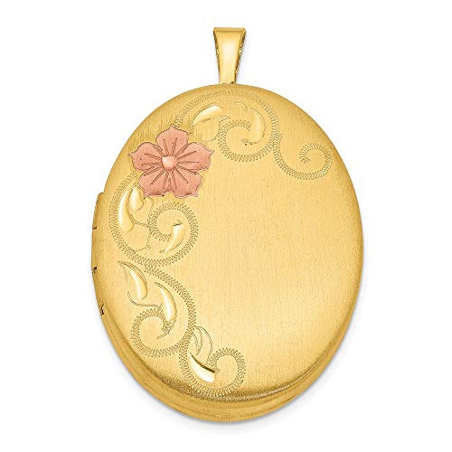 Roy Rose Jewelry Sterling Silver Gold Plated 26mm Satin Enameled Floral Locket
