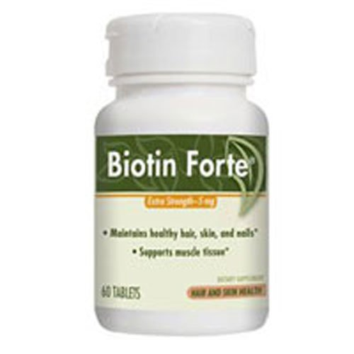 Nature's Way Biotin Forte 5 Milligrams Without Zinc 60 Tablets. Pack of 4 bottles