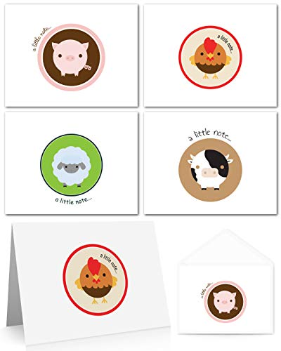 Farm Animals Note Cards (24 Fold-over Cards and Envelopes) Pig Cards, Cow Cards, Rooster Cards & Sheep Cards