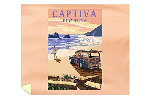 Lantern Press Captiva, Florida - Woody On The Beach 45303 (88x104 King Microfiber Duvet Cover)