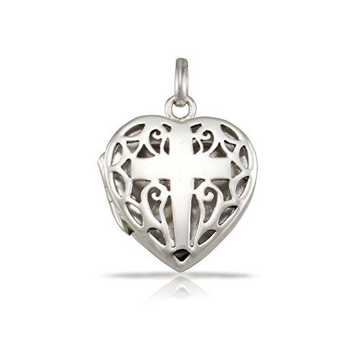 (WithLoveSilver 925 Sterling Silver Filigree Cross Heart Shape Locket Pendant)