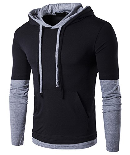 Guoji Men's Casual Slim Fit Long Sleeve T-Shirt with Hooded/Hoodies Tops (B26-Black...