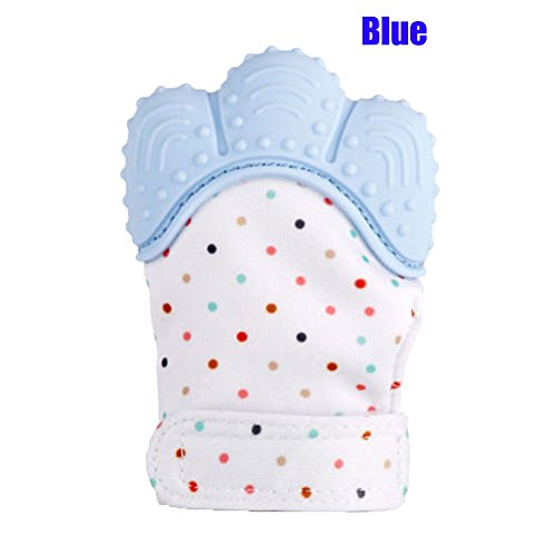 Price comparison product image Sonicee Silicone Baby Teething Mitten Gloves Self Soothing Teether Teething Pain Relief Toy with Handy Travel Bag for Over 3 Months Infants (Blue)