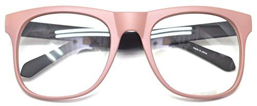 Big Square Horn Rim Eyeglasses Nerd Spectacles Clear Lens Classic Geek Glasses (Pink8919, - Nerd Pink Glasses