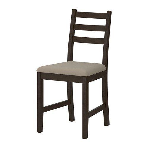 Two - IKEA LERHAMN Chair, black-brown, Vittaryd beige